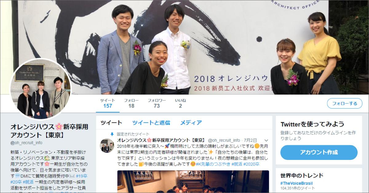 株式会社オレンジハウスさま/Twitter採用アカウント